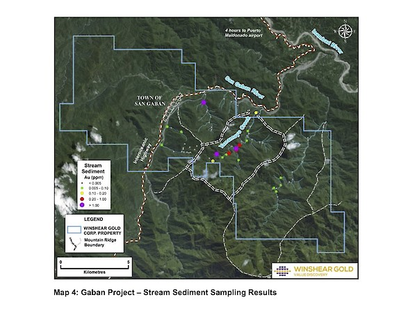Map 4 - Stream Sediment Sampling Results - Gaban Gold Project